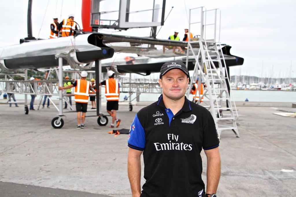Skipper Glenn Ashby - Emirates Team NZ - with the borrowed AC45 from Luna Rossa - which was their first boat in this cycle - it was battery powered - with no grinders © Richard Gladwell www.photosport.co.nz