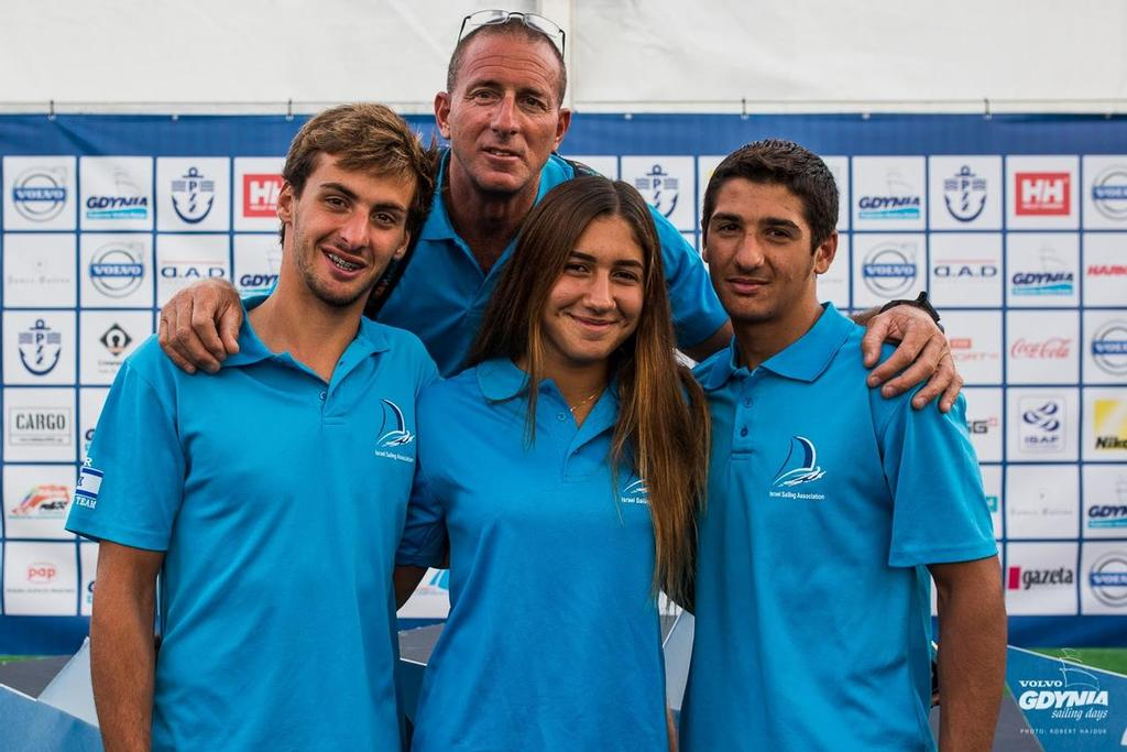 Three sailors - Four World Champions from Israel - Mens U-19, U-17 amd Womens U-17 and U-19 World Champions - 2015 RS:X Class Youth World Championships, Gdynia, Poland © RS:X class.com http://www.rsxclass.com