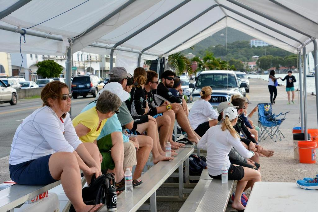 Spectators gather to watch the match racing action in St. Thomas' Charlotte Amalie harbor. Credit: Dean Barnes © Dean Barnes