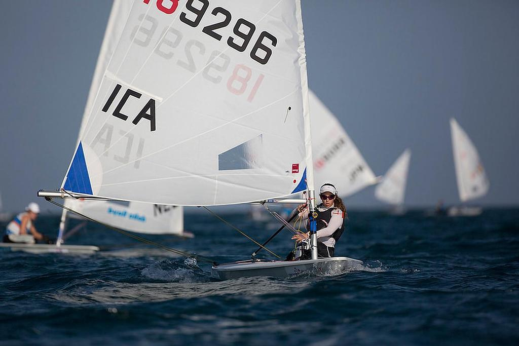 Oren Jacob (ISR) was not permitted to display her country letters at the 2015 Laser Radial Worlds in Oman, and had to sail with ICA on her sail instead. She was also messed around with late visas, and had similar restrictions placed on her as a condition of entry into a 2016 Olympic Qualifier. © International Laser Class Association http://www.laserinternational.org