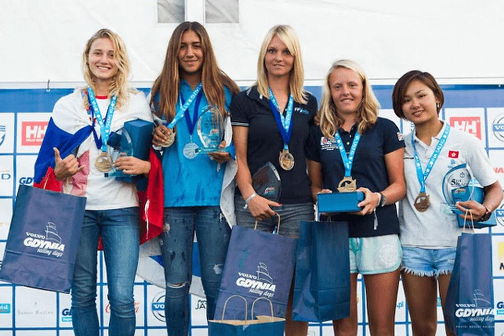 Noy Drihan ISR (second from left) after winning the U-17 and U-19 World RS:X Championships to add to her European Youth titles. She was part of the Israeli Youth team who was did not have visas issued in time to be able to compete in Malaysia © RS:X Class . http://www.rsxclass.com