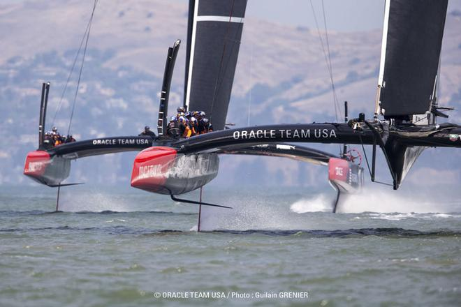 Oracle Team USA's two AC72's on foils during training in San Francisco © Guilain Grenier Oracle Team USA http://www.oracleteamusamedia.com/