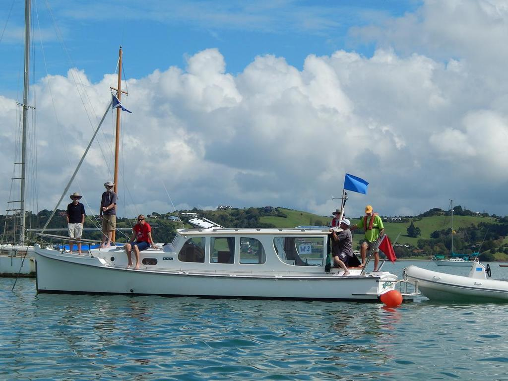 Pleasant sight at the start: committee boat 'Una' and the wonderful volunteers - 2016 Sanders Cup © Ruth WCC