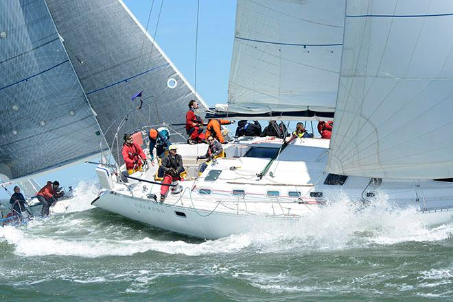 Steve Lesniak's Charleston-based Beneteau 510 Celadon is among the biggest boats at the event and even it's crew found the massive waves offshore to be a challenge on Day 2 of Sperry Charleston Race Week. © Tim Wilkes