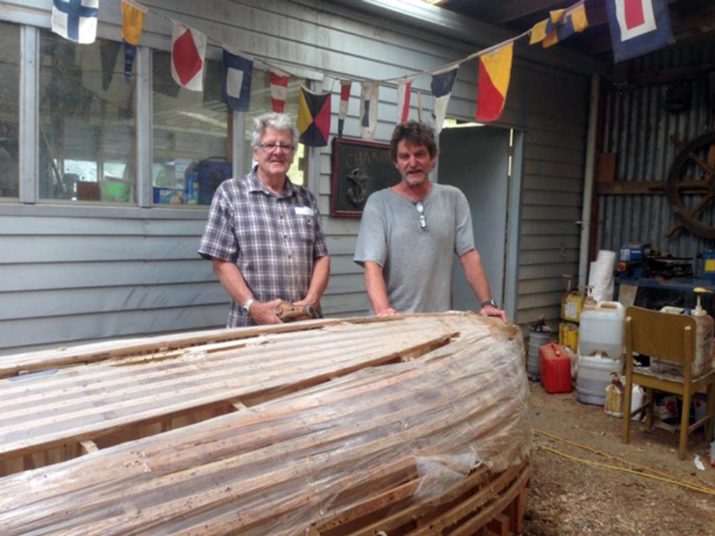 Robert Brooke showing Don Currie the mould used for the last of the wooden boats made. Robert was instrumental in building wooden Zephyrs in the 1990's to 2015 © Zephyr Owners Association