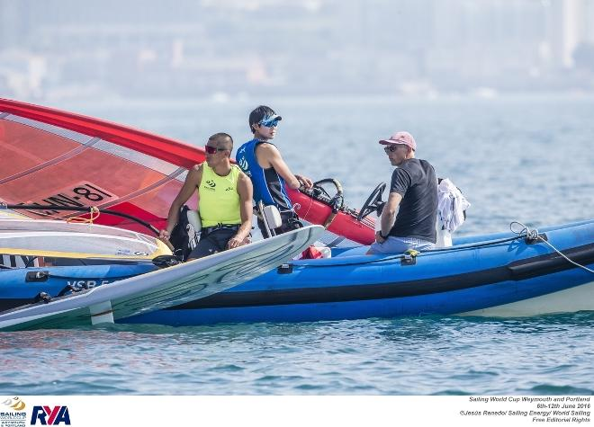 RSX coach Tom Ashley sits with Aichen Wang and Peina Chen - 2016 Sailing World Cup Weymouth and Portland ©  Jesus Renedo / Sailing Energy http://www.sailingenergy.com/