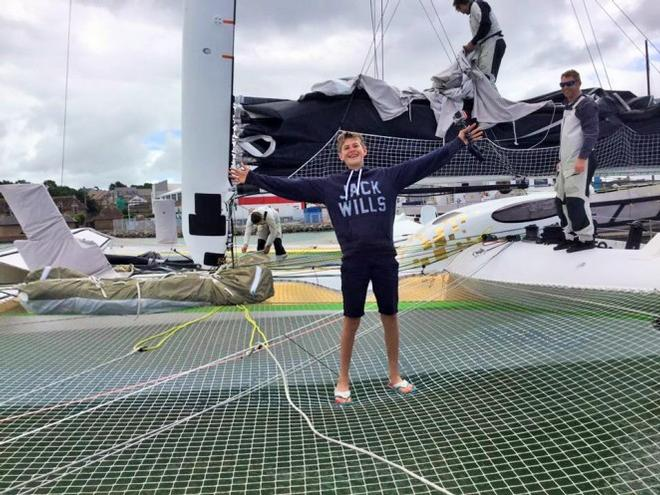 Toby Palfrey - Sailor Girl assistant was on hand to jump on board Phaedo 3 and interview the crew © Adventures of a Sailor Girl