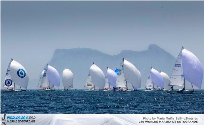 Gibraltar forms a backdrop at last week's J/80 Worlds - 2016 GC32 Racing Tour © María Muiña www.mariaphotos.com