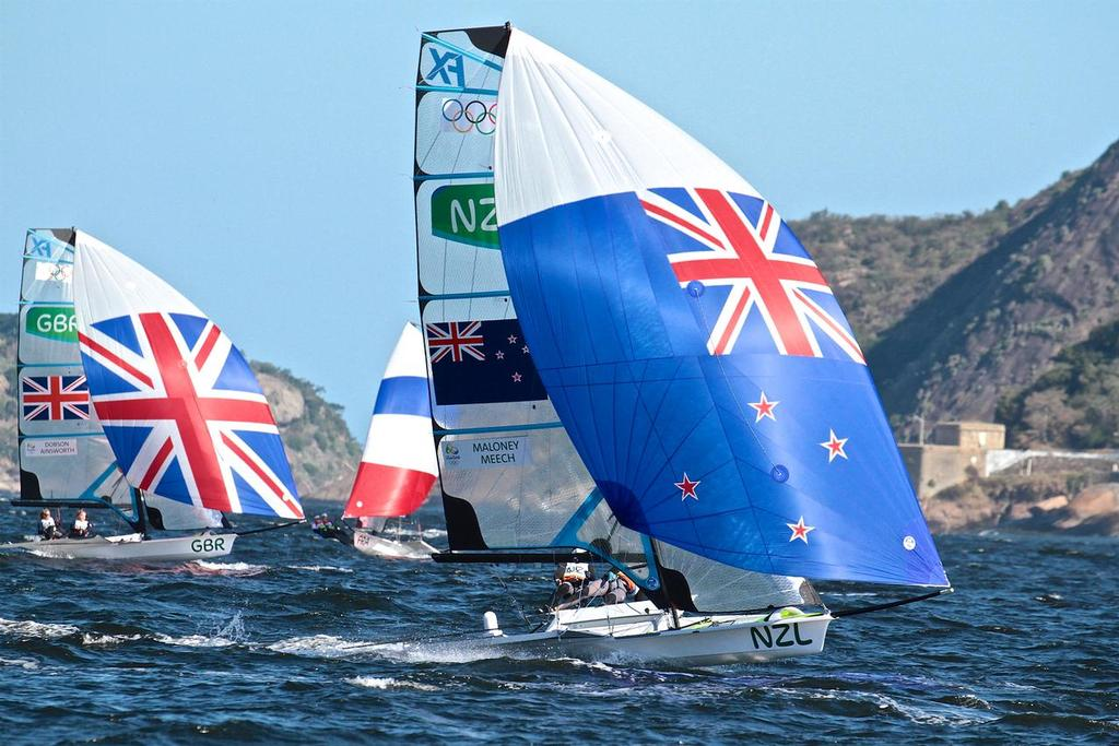 Alex Maloney and Molly Meech - 49erFX, Race 4, Rio 2016 - photo © Richard Gladwell <a target=