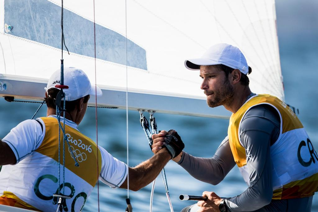 Sime Fantela & Igor Marenic (CRO) lead the Men's 470 class after day 7 at the Rio 2016 Olympic Sailing Competition © Sailing Energy/World Sailing
