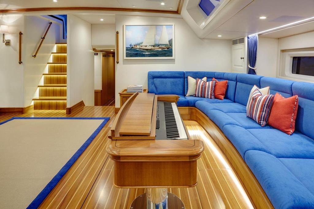 Cygnus Montanus - main saloon on the Yachting Developments built superyacht features a fold-away piano © Matt Crawford mattcrawfordphotography.com