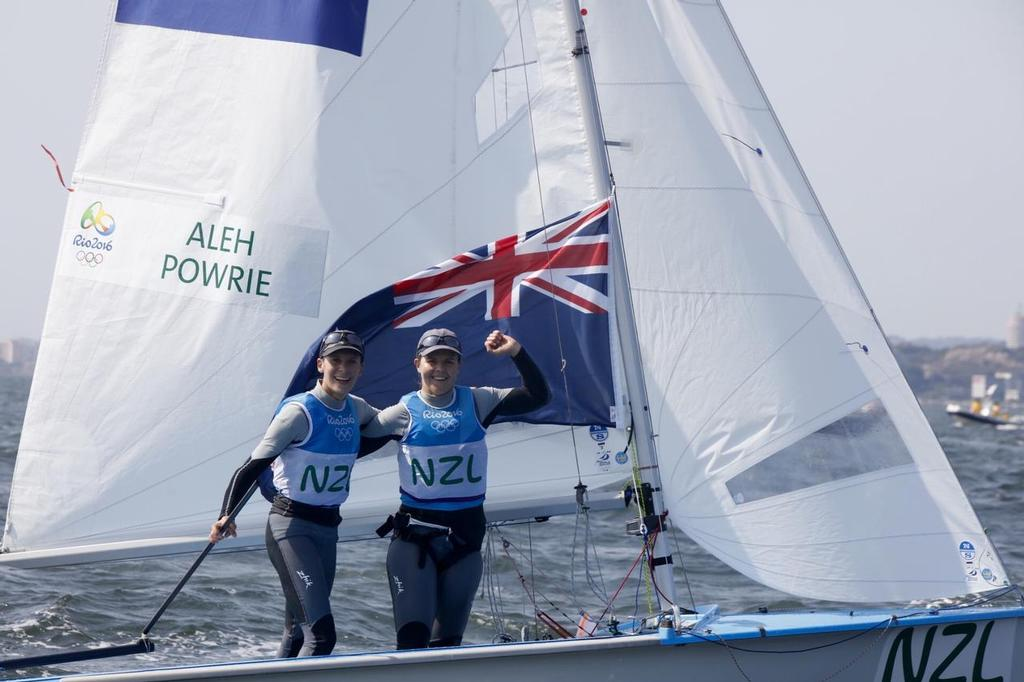 Silver for Jo Aleh and Polly Powrie (NZL) in the Women's 470 at the Rio 2016 Olympic Sailing Competition - photo © Sailing Energy/World Sailing