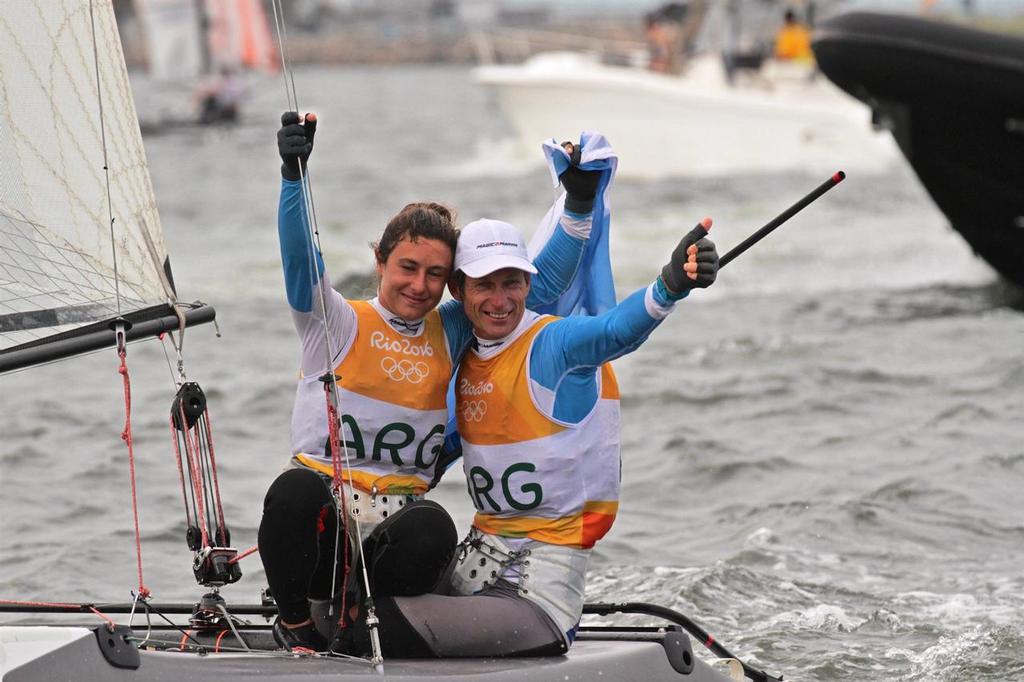 The Mixed crew concept got a big tick from the IOC in Agenda 2020 - Santiago Lange and Cecila Carranza Saroli (ARG) celebrate after winning the Gold Medal in the Nacra 17 Medal race. - photo © Richard Gladwell www.photosport.co.nz