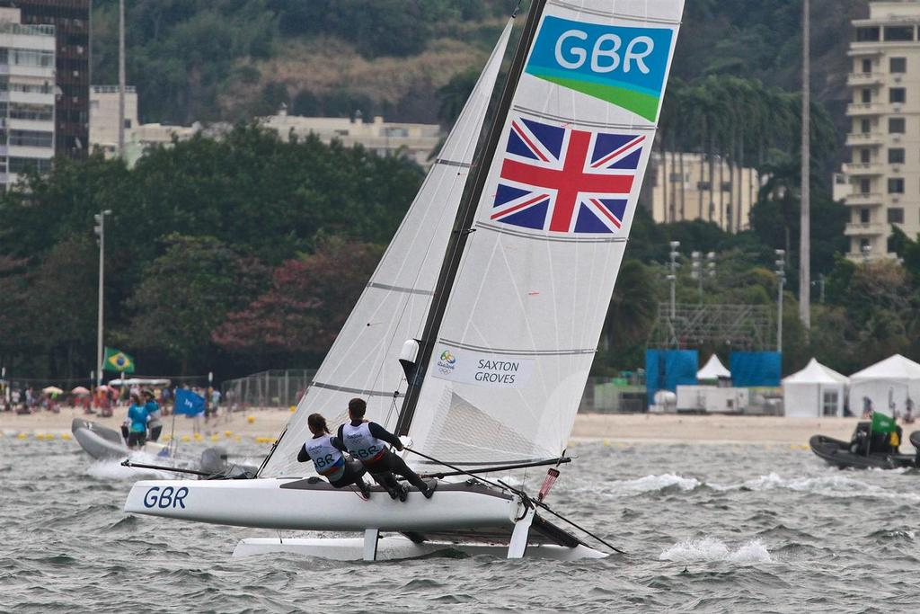 Team GBR begins the chase in the Nacra 17 Medal Race. Summer Olympics © Richard Gladwell www.photosport.co.nz
