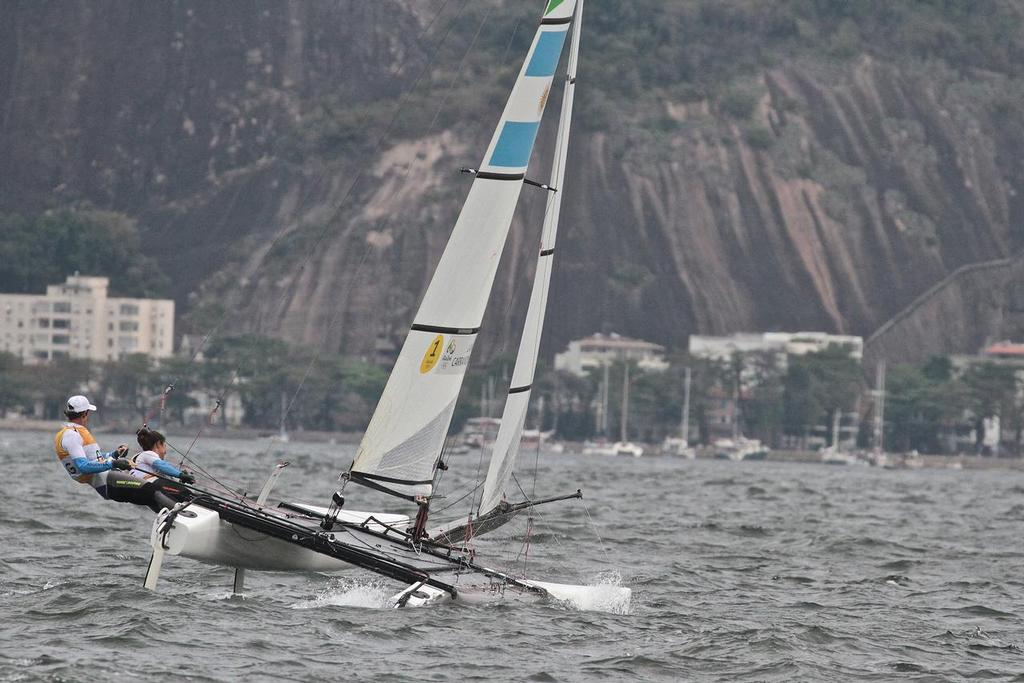 Santiago Lange and Cecilla Saroli head upwind for the second time in the Nacra 17 Medal race. Summer Olympics - photo © Richard Gladwell <a target=