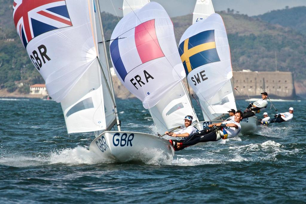 Luke Patience and Chris Grube (GBR) approach the finish line - Mens 470 Medal race - photo © Richard Gladwell <a target=