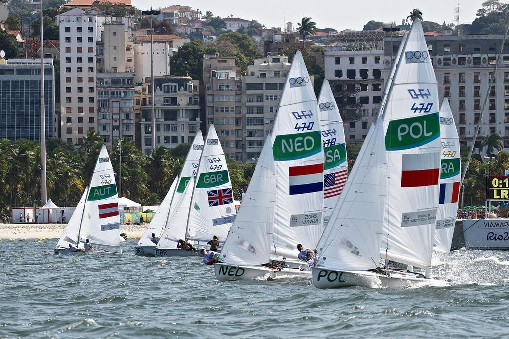 Fleet splits just after the start - Womens 470 medal Race, Rio Olympivs - photo © Richard Gladwell <a target=