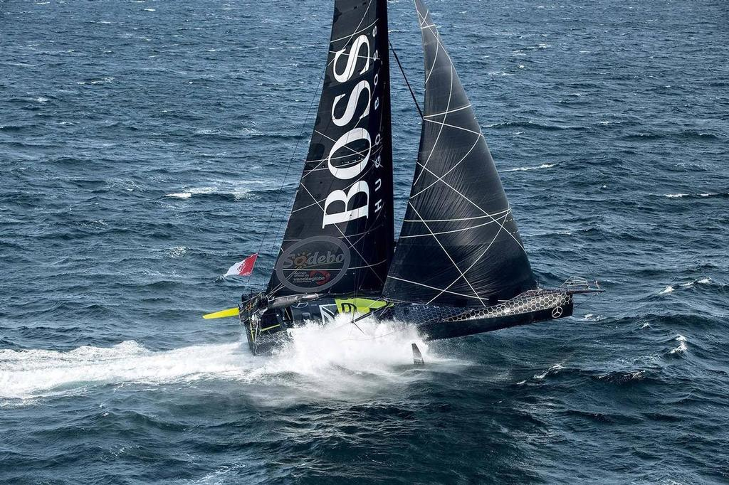 Alex Thomson foiling in Hugo Boss ahead of the 2016 Vendee Globe - photo © Alex Thomson Racing