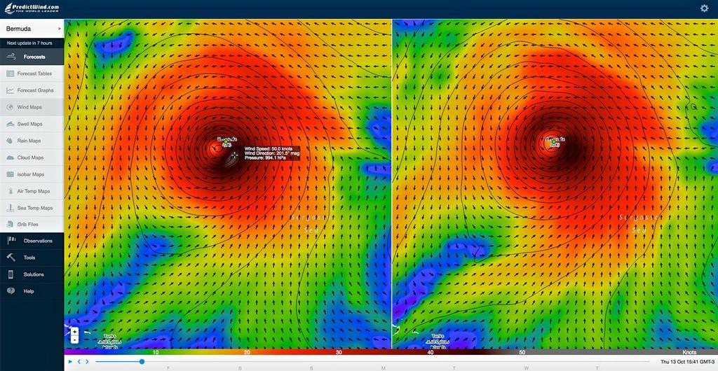 Bermuda - Hurricane Nicole - October 13, 2016 - show winds abating slightly when the hurricane reaches Bermuda, © PredictWind