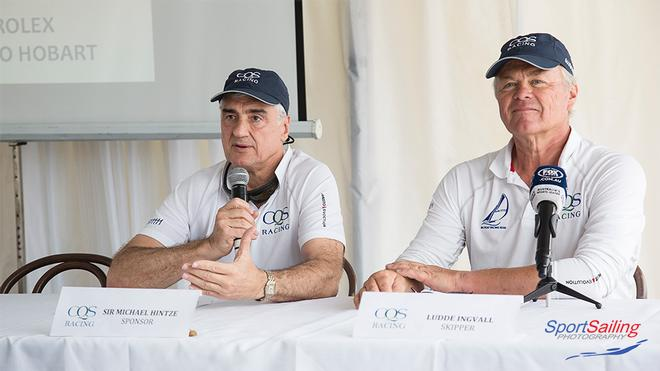 Sir Michael Hintze and Ludde Ingvall at today's launch. - CQS Media Launch © Beth Morley - Sport Sailing Photography http://www.sportsailingphotography.com