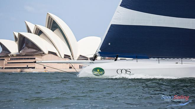 CQS bow and the Sydney Opera House - CQS Media Launch © Beth Morley - Sport Sailing Photography http://www.sportsailingphotography.com