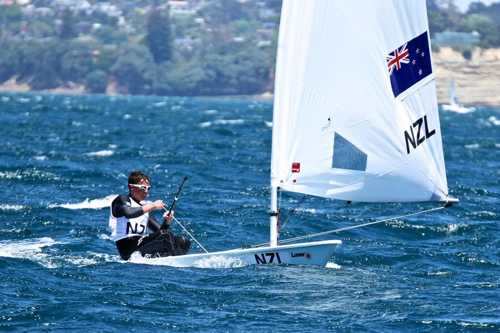 George Gautrey (NZL) Mens Laser Radial- Aon Youth Worlds 2016, Torbay, Auckland, New Zealand - photo © Richard Gladwell www.photosport.co.nz