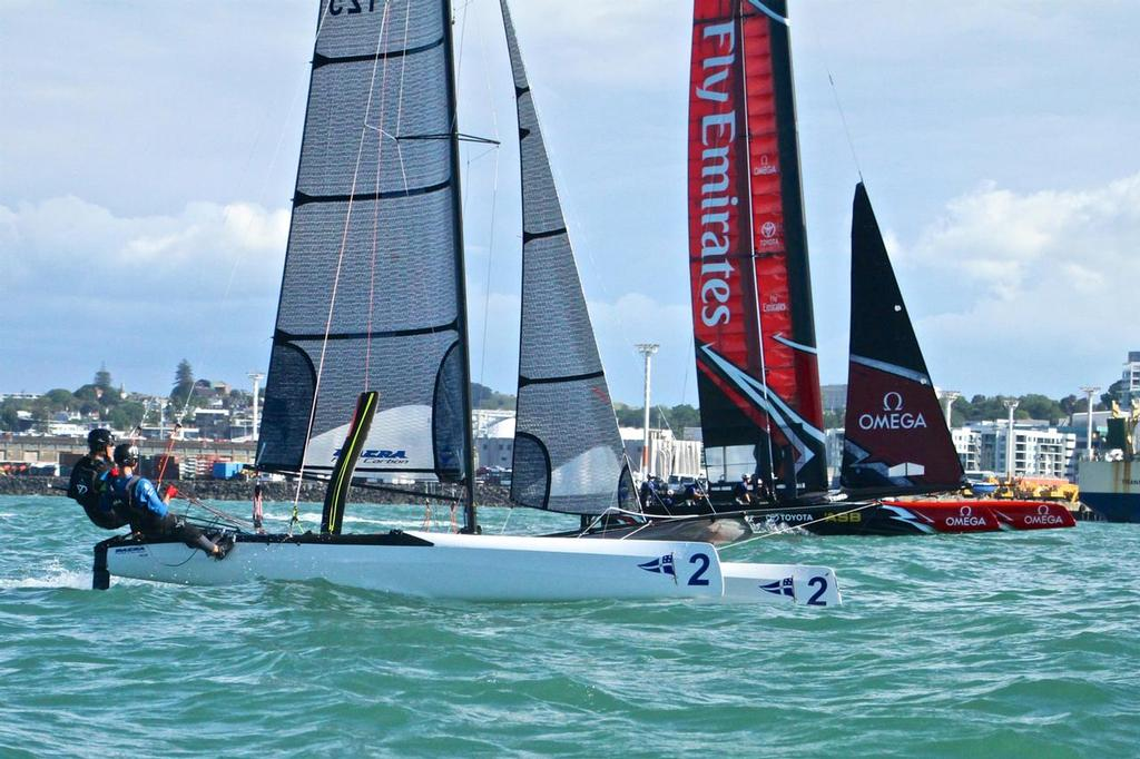 RNZYS Youth program Nacra 20 lines up against the adults - Emirates Team NZ returning from a Test Sail - Dec 6, 2016 - photo © Richard Gladwell www.photosport.co.nz