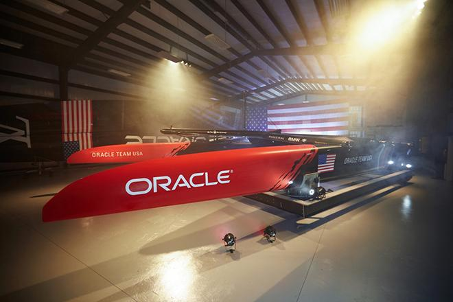 Oracle Team USA celebrate completion of new America's Cup Class boat © Oracle Team USA media