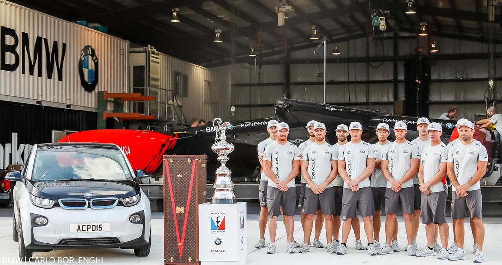 Dockside - BMW i3, America's Cup and Oracle Team USA - new America's Cup Class boat - Unveiling - Bermuda, February 14, 2017 © BMW / Carlo Borlenghi