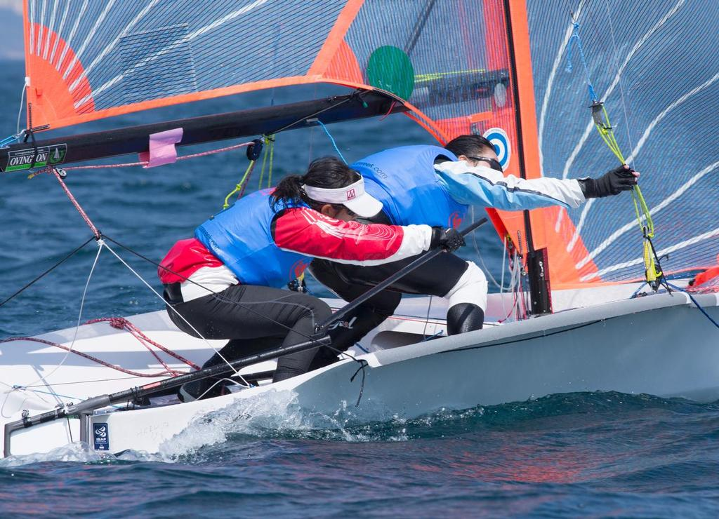 29ers at Hong Kong Raceweek 2017. Tacking, NOW! © Guy Nowell / Hong Kong Race Week