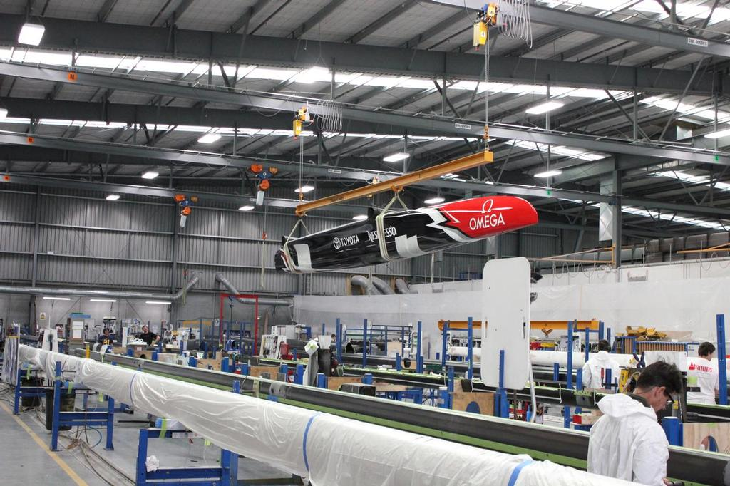 The AC50 flies above the floors at the Southern Spars facility in Auckland - photo © Southern Spars
