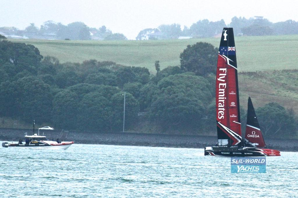 Emirates Team NZ's chase boat pacing the AC50 in 4-6kts of wind - Day 1 - Emirates Team New Zealand - February 14, 2017 © Richard Gladwell www.photosport.co.nz