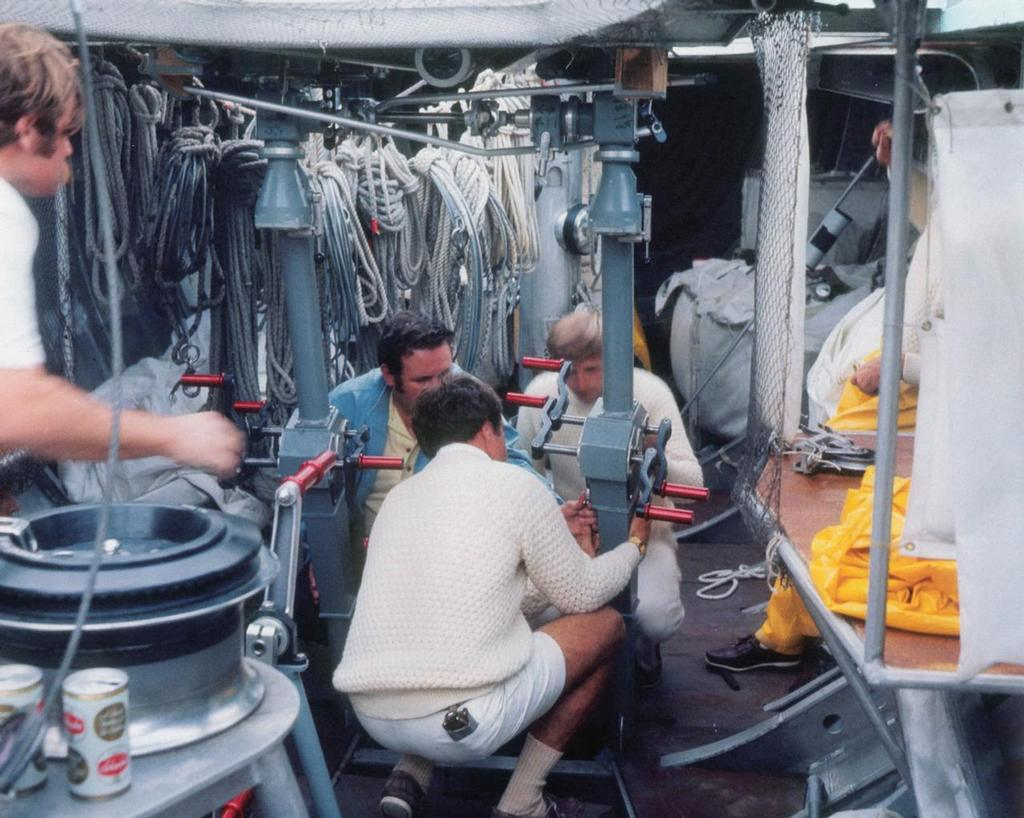 Below decks on Courageous in the 1977 America's Cup campaign - not cycle pedestals like the Challenger Sveridge - but grinding below in these conditions in a 12 Metre must have been hard work. © Paul Darling Photography Maritime Productions www.sail-world.com/nz