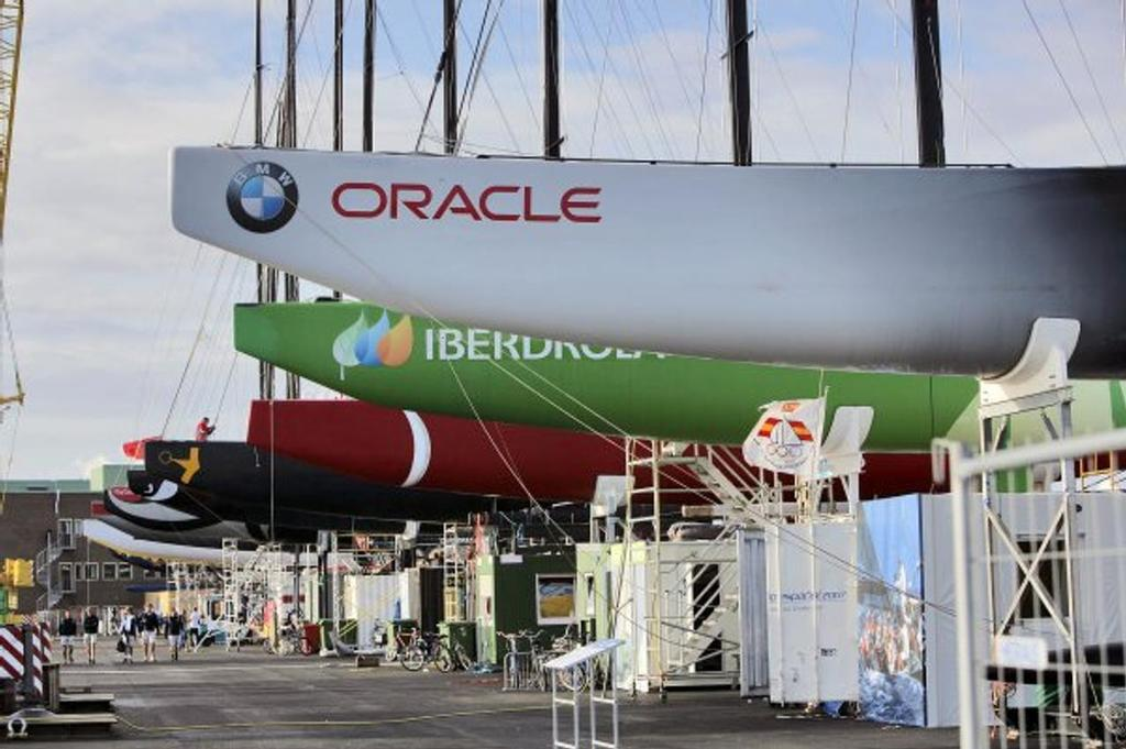 The line-up from the monohull era - Unveiling day. Valencia, 2007. - photo © Gilles Martin-Raget/Oracle Racing.com http://www.oracleteamusamedia.com/