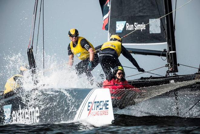2017 Act 1, Extreme Sailing Series Muscat - SAP Extreme Sailing Team taking the spray with onboard Guest Sailor – Current leader SAP Extreme Sailing Team came out of the blocks firing in Muscat, taking its first Act win since Qingdao in 2015 © Lloyd Images http://lloydimagesgallery.photoshelter.com/