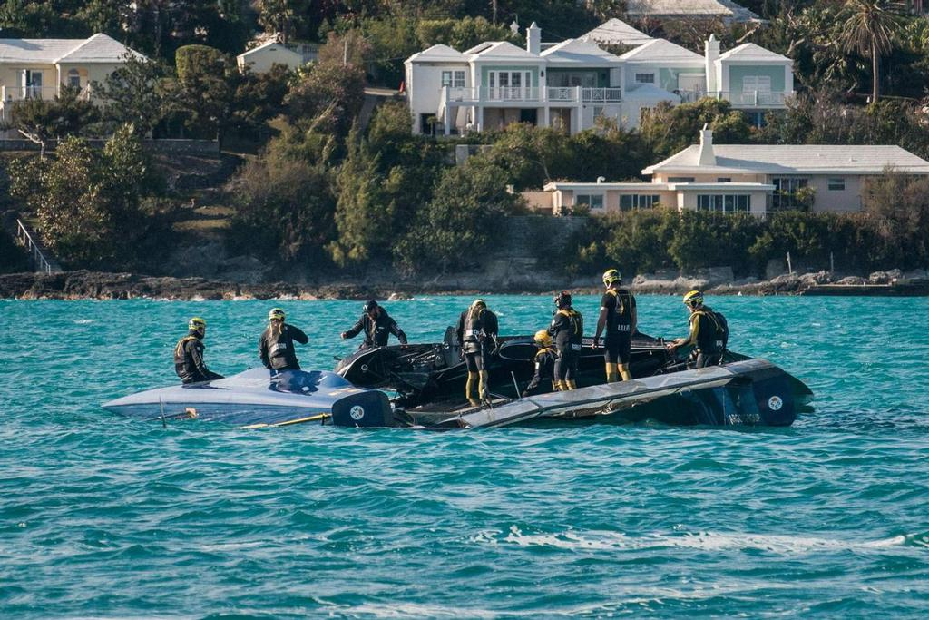 Artemis Racing with their broken AC45T in Bermuda - April 5, 2017 Image: Chris Burville © The Royal Gazette http://www.royalgazette.com