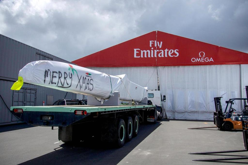 Emirates Team New Zealand's America's Cup class boat, boat 2, is delivered from Southern Spars to Emirates Team New Zealand's base © Hamish Hooper/Emirates Team NZ http://www.etnzblog.com