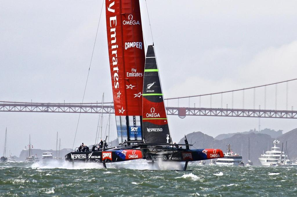 Emirates Team NZ in San Francisco - the cavitation ``sound barrier`` for the AC72's is the same as for the AC50 - around 50kt of boat speed.s - photo © Richard Gladwell www.photosport.co.nz