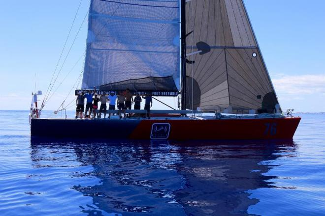 Atlas Ocean Racing's Volvo 60, Esprit de Corps IV from Montreal, Québec finish the Antigua Bermuda Race in very light airs today (Thurs May 18). ©  Tom Clarke