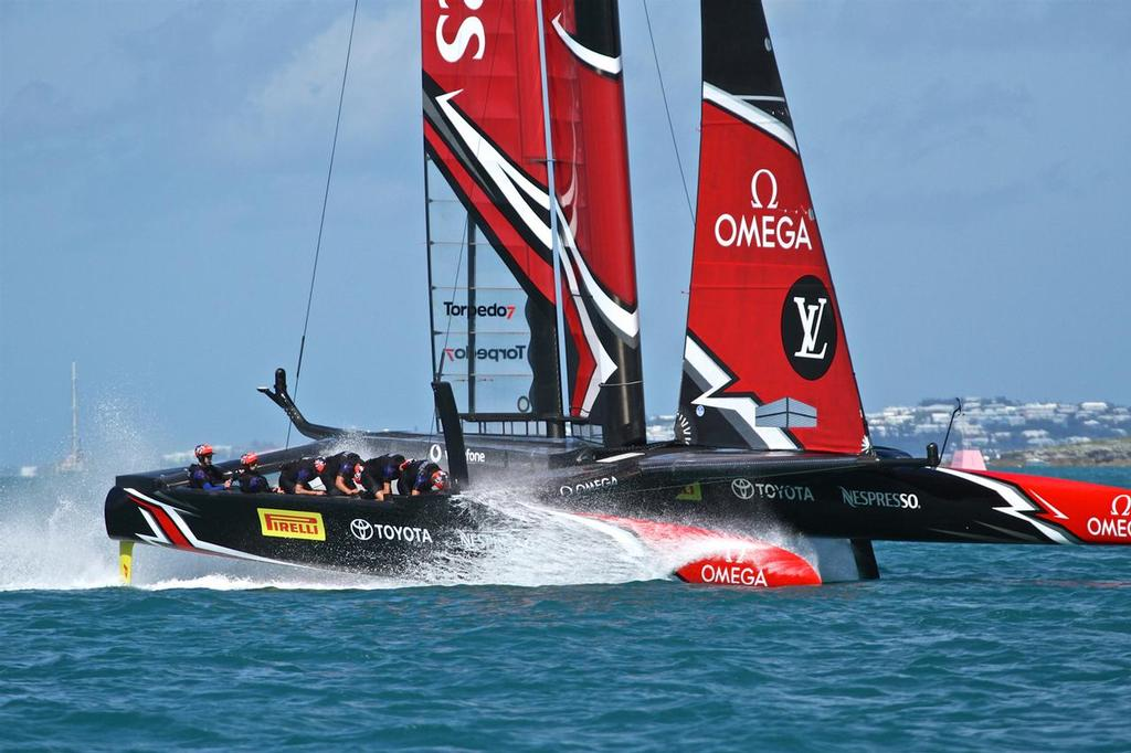 The cyclors get a taste of the Great Sound - race 5, Day 1 -America's Cup 2017, May 27, 2017 Great Sound Bermuda - photo © Richard Gladwell <a target=
