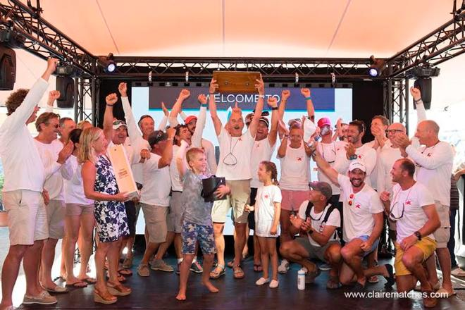 The crew of the Frers, designed Bolero enjoying their spotlight moment – Superyacht Cup © www.clairematches.com