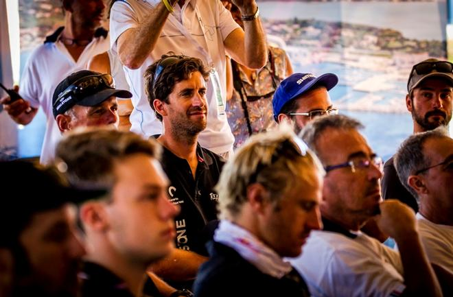 At the skippers' briefing on the practice day at the GC32 Villasimius Cup © Jesus Renedo / GC32 Racing Tour