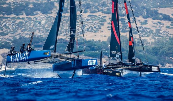 Realteam engaged in a duel with fellow Swiss crew Armin Strom – GC32 Villasimius Cup © Jesus Renedo / GC32 Racing Tour