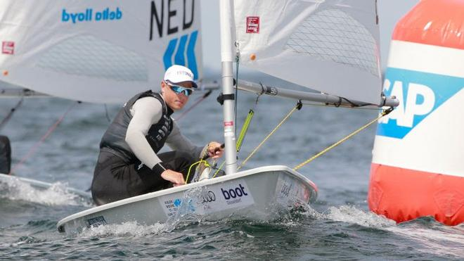 Estonia's Karl Martin Rammo took the lead in Laser class ©  Kieler Woche / okPress.de