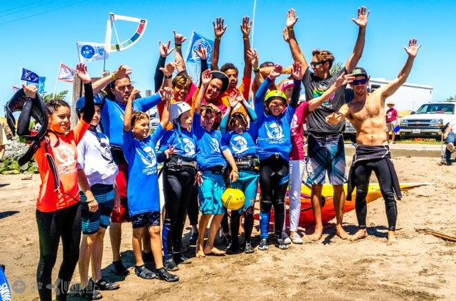 The Super Grom Slalom Racers with some help from Brian Metcalfe-Perez, Wyatt Miller, Jason Voss, Alex Martens and Darren Rogers. - Day 2 - Rio Vista Grand Slam 2017 © International Windsurfing Tour