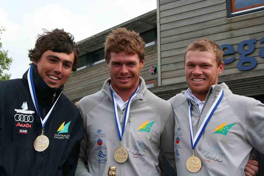 2010 Iain Jensen with Tom Slingsby and Nathan Outteridge - photo © Australian Sailing