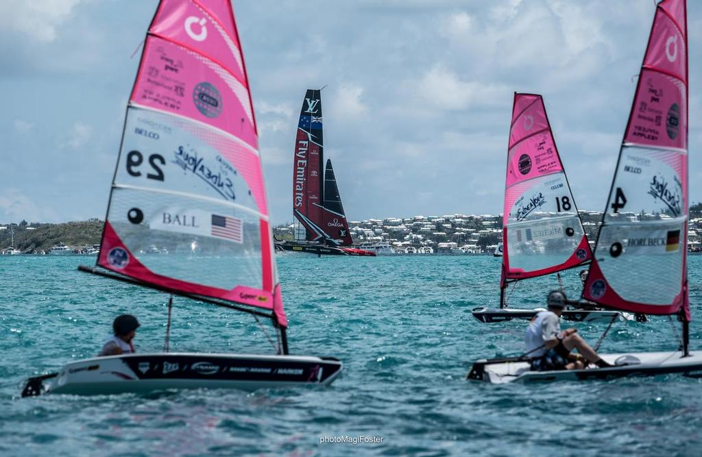O'pen BICs at the finish of AC Race One - America's Cup Endeavour O'pen © Nevin Sayre