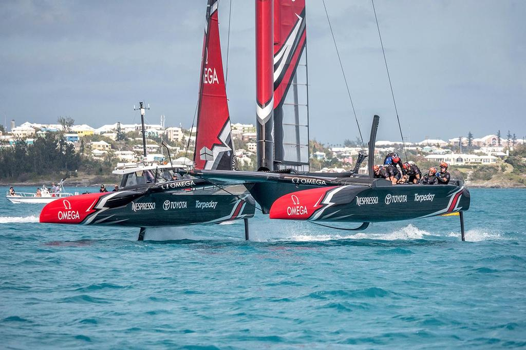 Emirates Team New Zealand sailing on Bermuda's Great Sound for the second day of testing in the lead up to the 35th America's Cup © Hamish Hooper/Emirates Team NZ http://www.etnzblog.com