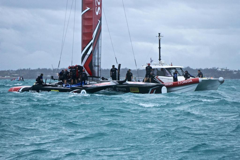 Emirates Team New Zealand sideslipped back to base - Semi-Final, Day 11 - 35th America's Cup - Bermuda  June 6, 2017 © Richard Gladwell www.photosport.co.nz