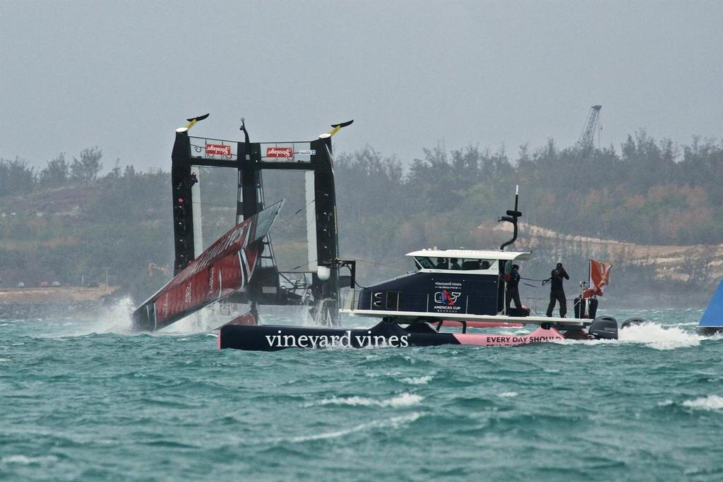 Windsail hits the water in the pitchpole - Emirates Team New Zealand - Semi-Final, Day 11 - 35th America's Cup - Bermuda  June 6, 2017 © Richard Gladwell www.photosport.co.nz